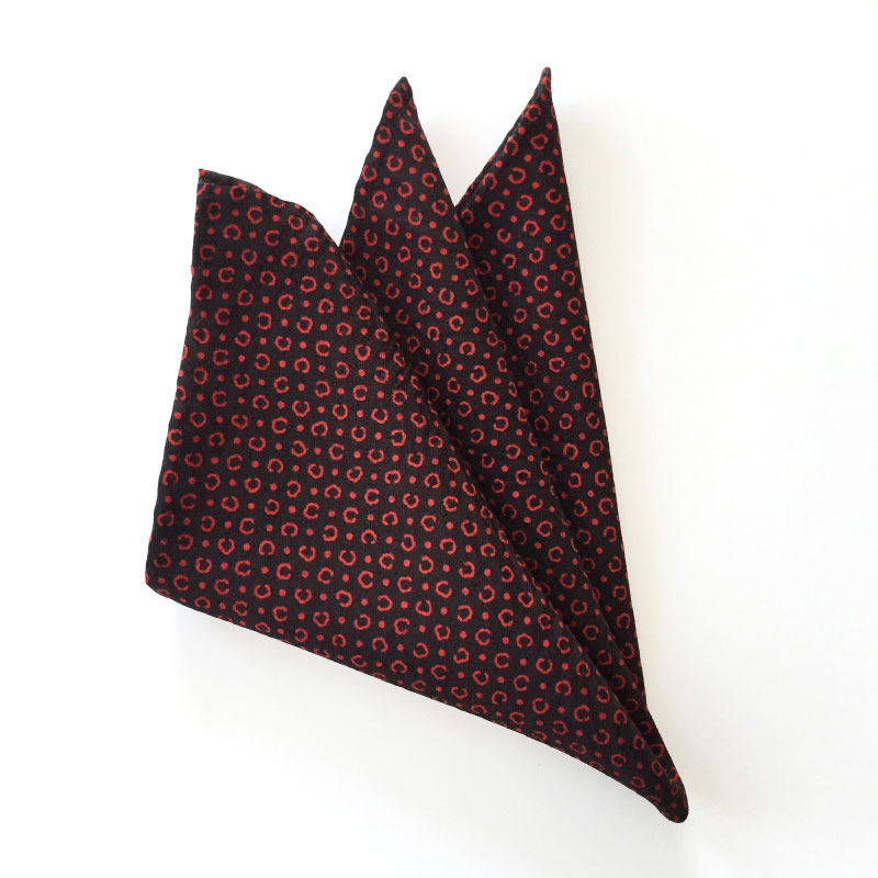 Red on black dot vintage Japanese silk pocket square