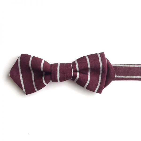 Burgundy & white stripe bow tie