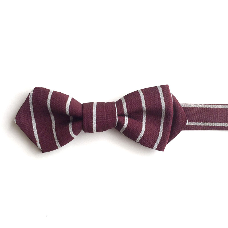 Burgundy & white stripe bow tie