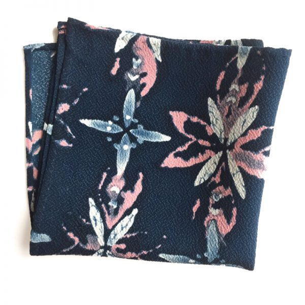 Floral-leaf pattern. Chirimen pocket square