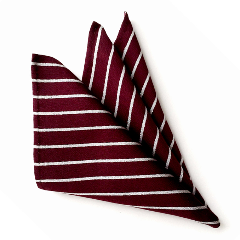 Burgundy & white strip pocket square