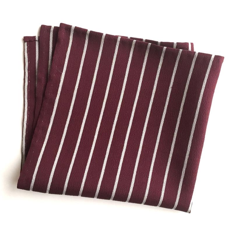 Burgundy & white strip pocket square