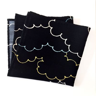 Cloud Pattern on Black silk pocket square