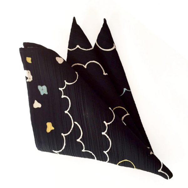 Cloud Pattern on Black silk pocket square