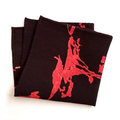 abstract red on black pocket square