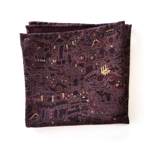 Festival pattern Japanese silk pocket square