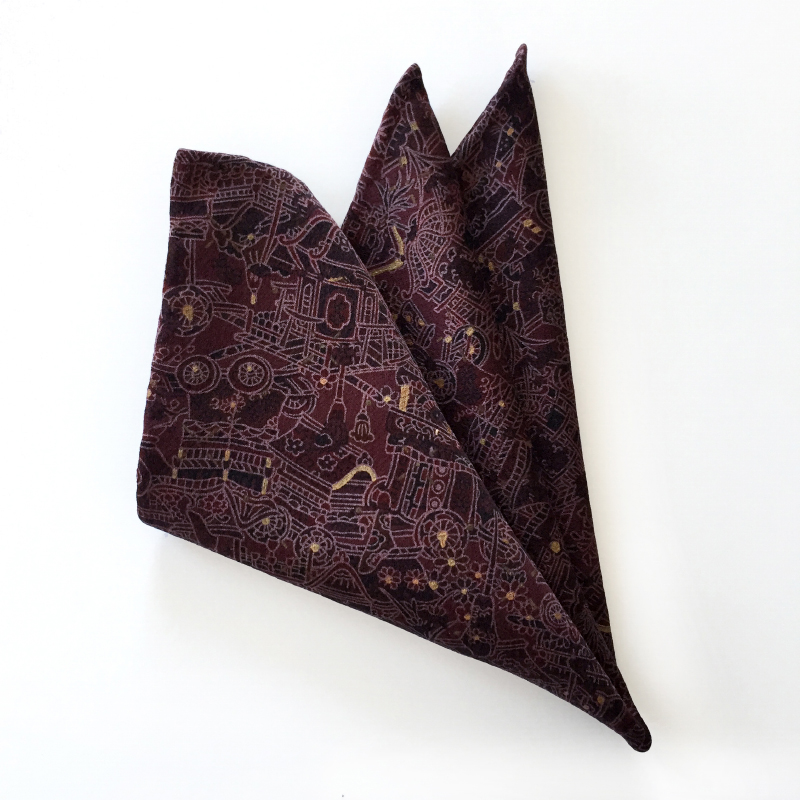 Festival pattern Japanese silk pocket square